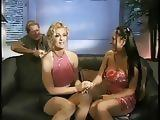Blonde wife rubs her bestfriends tits before letting her husband suck and fuck